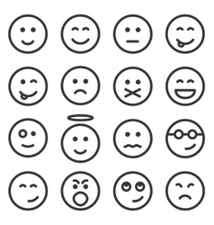 Set of outline emoticons emoji vector