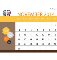 simple 2014 calendar november vector image