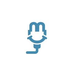 smile plug logo vector image