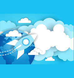 space rocket in sky over blue earth and clouds vector image
