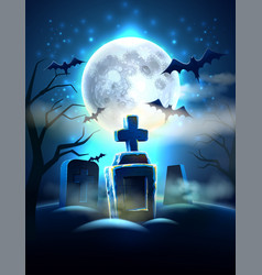 Spooky cemetery graves for halloween party vector