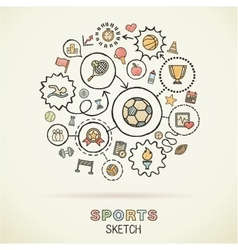 Sport hand drawing integrated sketch icons vector