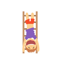 Sportive boy hanging upside down on a ladder kids vector