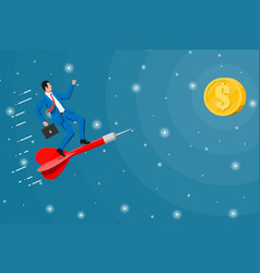 successful business man flying on dart on graph vector image