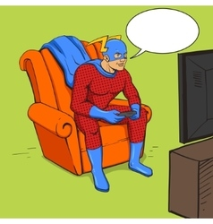 Superhero playing the game console vector image