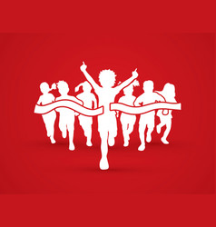 The winner group of children running sport graphic vector