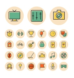 Thin line icons for leisure travel and sport vector