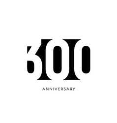 three hundred anniversary minimalistic logo vector image