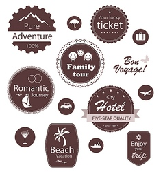 Travel and vacation emblems set vector image