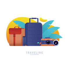 Travel icon concept flat icons set vector