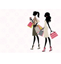Two women shopping vector image