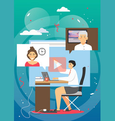 video conferencing from home flat vector image
