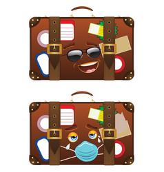 Vintage suitcase happy and unhappy vector