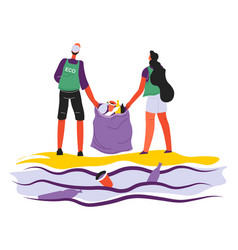 volunteering people collecting garbage seaside vector image