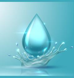 Water drop realistic aqua splash 3d drop vector
