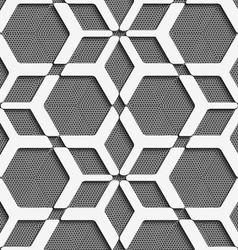 White geometrical net on textured gray seamless vector image