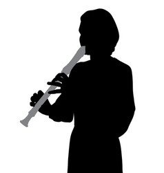 Woman playing recorder flute vector