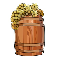 wooden barrel with a bunches of grapes vector image