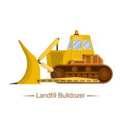 Yellow modern landfill bulldozer for garbage vector