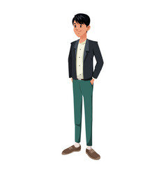 Young man in casual clothes hands in pocket vector