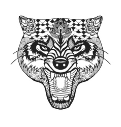 Zentangle stylized wolf Sketch for tattoo or t vector image vector image