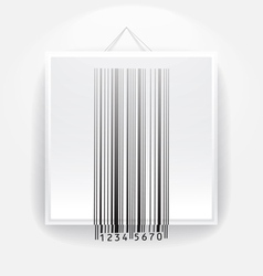 Blank frame on the wall with barcode vector image vector image