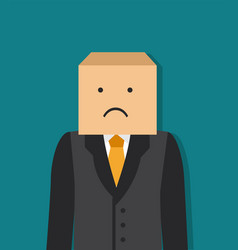 Businessman with a box on his head vector