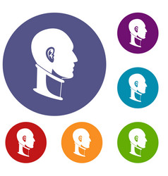 cervical collar icons set vector image