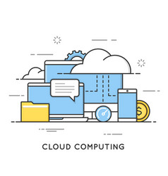 cloud computing data storage web services flat vector image vector image