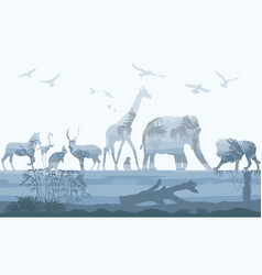 double exposure wild animals with nature vector image vector image