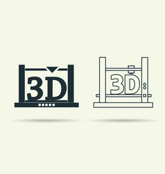 flat and linear 3d printers icons vector image