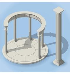 isometric ancient rotunda monopteros vector image
