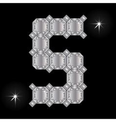Metal letter s gemstone geometric shapes vector