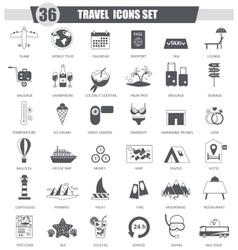 Travel black icon set Dark grey classic vector image