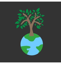 Tree on earth ecology concept vector image vector image