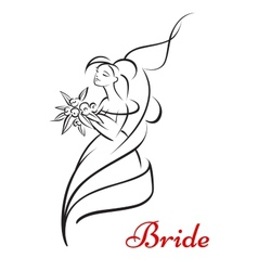 Beautiful bride holding flowers and smiling vector image vector image