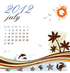 calendar for 2012 july vector image