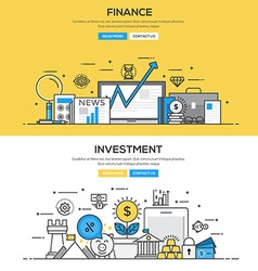 Flat design line concept Investment and Finance vector image