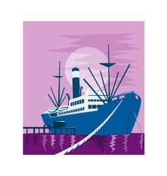 passenger cargo ship docking vector image