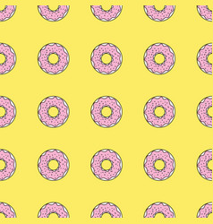 seamless pattern background with colorful donuts vector image