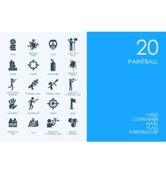 Set of paintball icons vector image