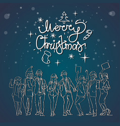 christmas greeting card with cheerful people vector image