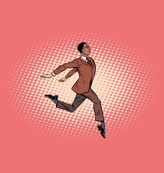 Elegant businessman runs forward vector