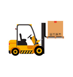 forklift truck with cardboard box isolated vector image vector image