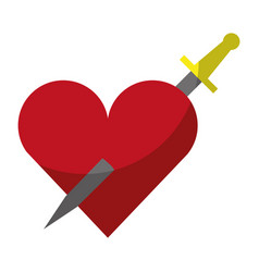 heart love with sword romantic icon vector image