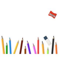 Realistic pencils pencil sharpener eraser vector