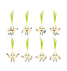 set of funny garlic vegetable cartoon character vector image vector image