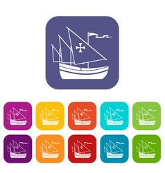 ship of columbus icons set vector image vector image