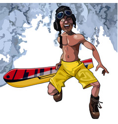 cartoon funny man walks with a snowboard vector image vector image