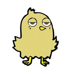 Comic cartoon bored bird vector